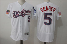 MLB Men s Los Angeles Dodgers 5   SEAGER Home   Away Gray   White Player  Jersey fd84047e3