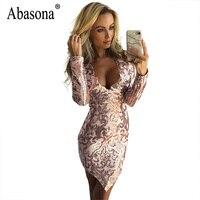 Abasona Women Sequin Dress Sexy V Neck Long Sleeve Asymmetrical Dress Evening Party Wear Sequin Embroidery