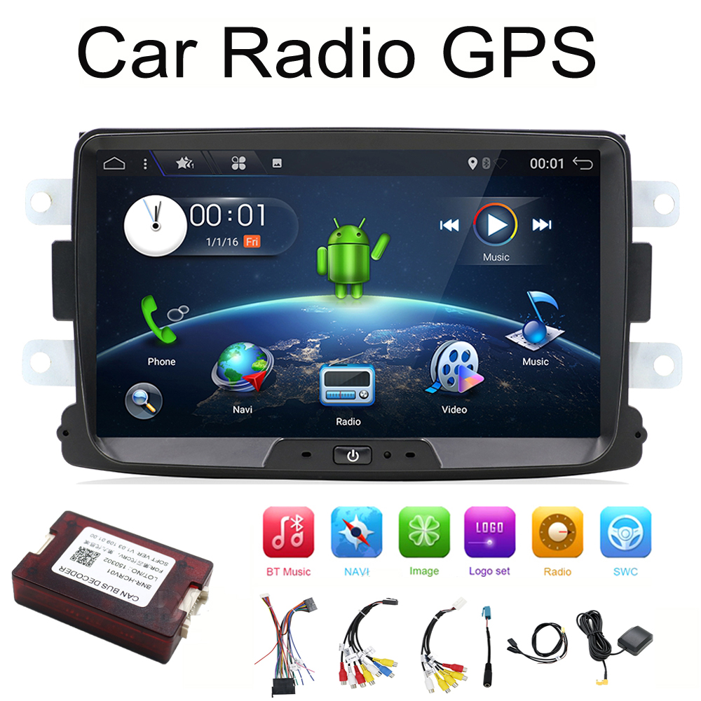 Quad Core Pure Android 7.1 GPS Navigator Radio car dvd For Dacia Renault Duster Logan Sandero stereo Central Cassette Player android 7 1 car dvd stereo for renault dacia duster sandero lodgy dokker auto radio gps navigation car multimedia with wifi bt
