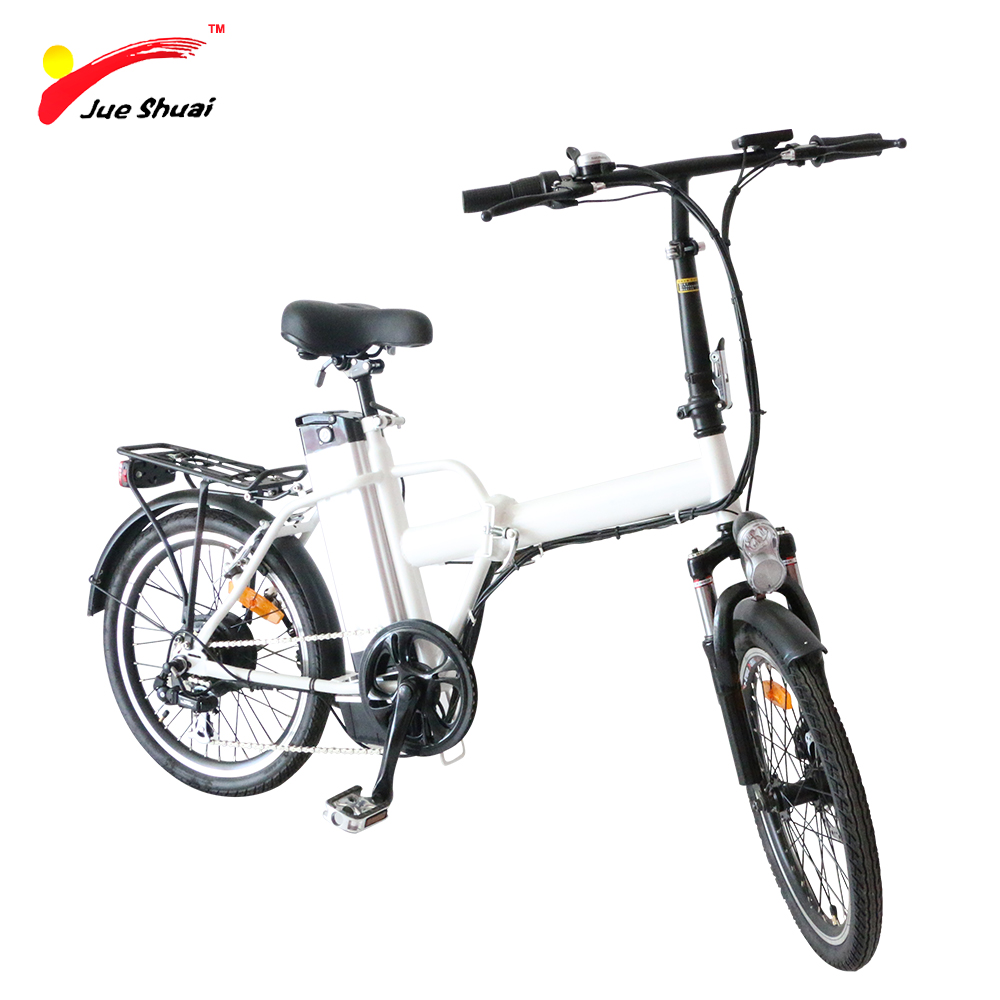 JS Foldable 20 Electric Bike 250W Brushless Motor 36V10Ah Lithium Battery Two Seat White PAS Motorcycle OEM Folding E-Bicycle electric bike battery 36v10ah with customized dimension