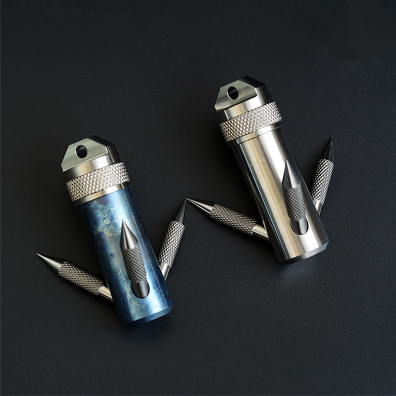 Titanium Grappling Hook Capsule Container Waterproof Storage Box EDC Outdoor Capsule Tablet Cash Pill Survival Box grappling black diamond hook