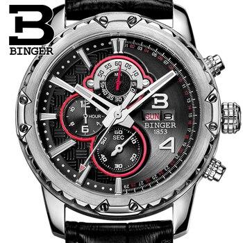 BINGER New 2017 Brand Luxury Sports Chronograph Quartz Men Watches Fashion Casual Wristwatches For Leather Relogio Masculino
