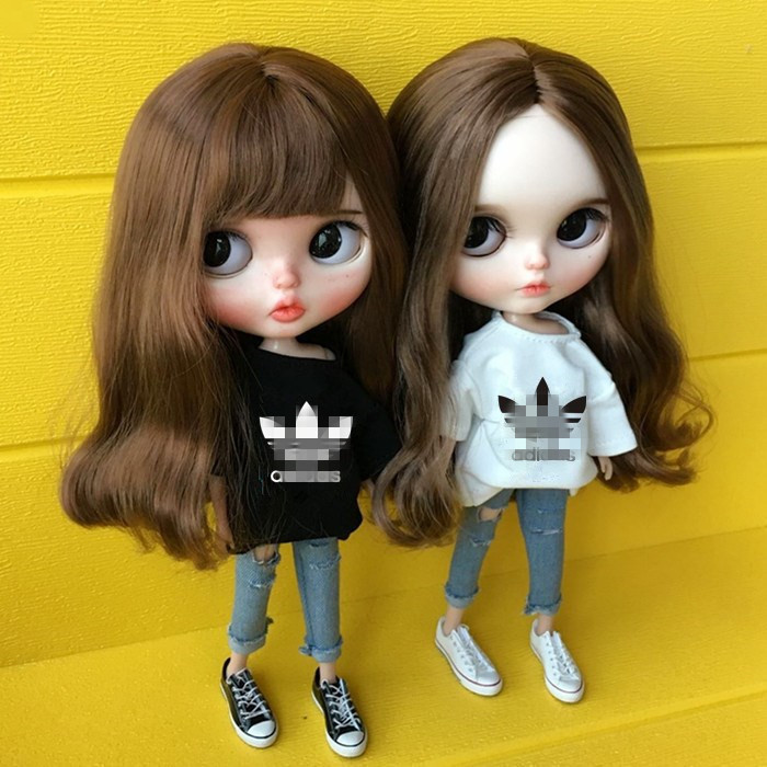 2Pcs/set White/Black T-shirt+blue Hole Jeans 1/6 Fashion Doll Clothing For Pullip Blyth Clothes 30cm Doll Accessories For Barbie