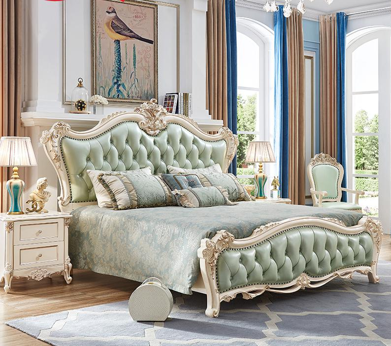 King Size Solid Wood Hand-carved Antique Bedroom Furniture Set With Bed,bedside Table, Dressing Table, Dressing Chair tyle sofa three seater with hand carved solid wood frame
