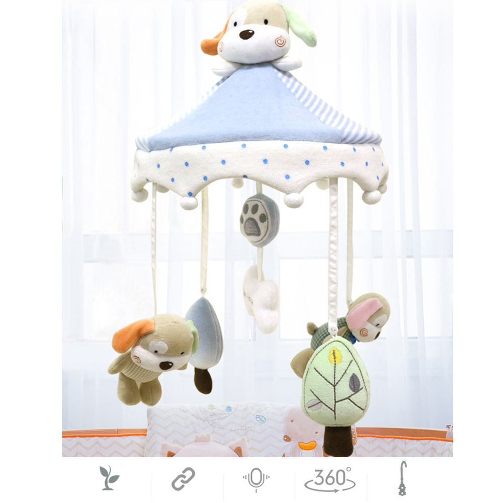 Newborn Infant Crib Rattles Bell Toy Cartoon Animal Toddler Bed Hanging Dog Happy Home Baby Plush Wind Chime Toys