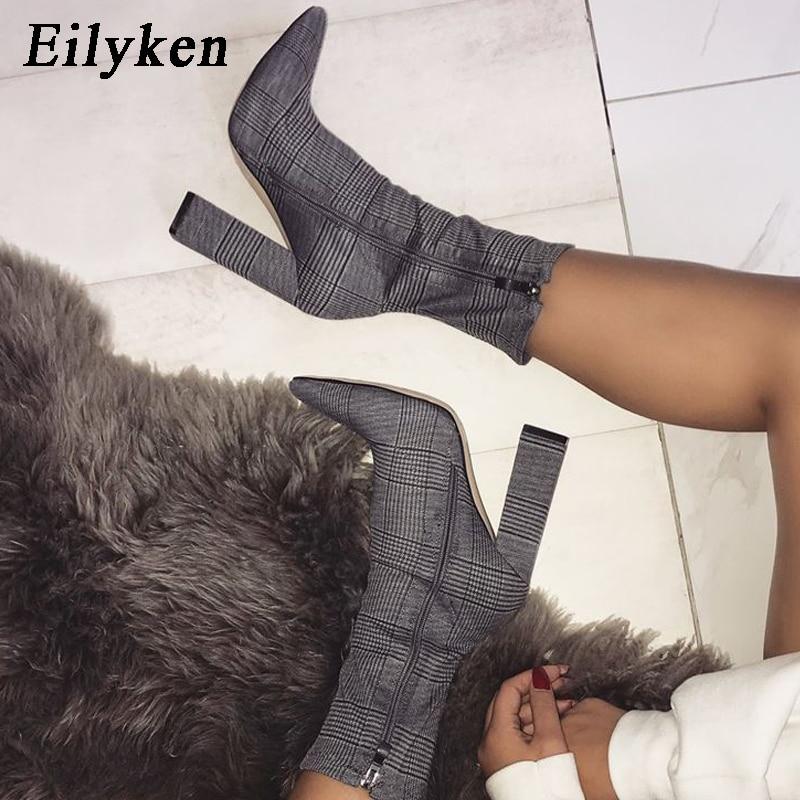 Eilyken/2019 г.; Новые Дизайнерские ботильоны с принтом; женские Ботинки на каблуке; сезон осень зима; Модные женские ботинки на молнии с острым носком на квадратном каблуке
