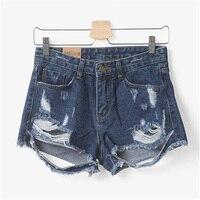New High Waist Stretch Denim Shorts Casual Women Jeans Short Plus Size Super Quality Feminino Destroyed