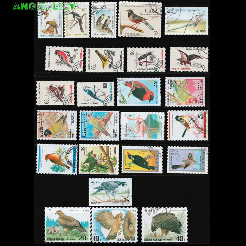Us 2 12 15 Off 25 Pcs All Different Topic Birds Animal Postage Stamps With Post Mark For Collection In Stickers From Home Garden On Aliexpress