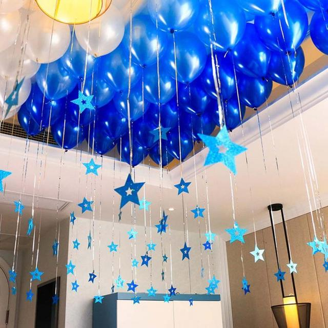 80pcs Balloon Pendant Wedding Birthday Party Homecoming Decorative Star Sequin Ribbon Rain For Decorations 0602
