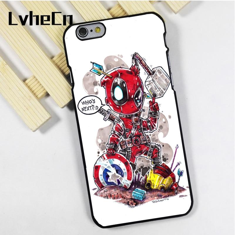 LvheCn phone case cover for iPhone 4 4s 5 5s 5c SE 6 6s 7 8 plus X ipod touch 4 5 6 Deadpool Vs The Avengers Funny Art Marvel