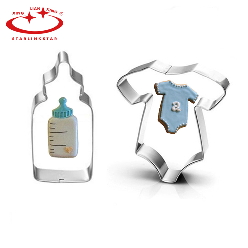 3D Lovely Baby Clothing Feeding Bottle Shape Stainless Steel Cookie Cutter Biscuit Mould Baking Tool For Cake Decor