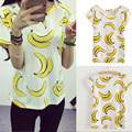 2017 Summer Women Bananas Printed T Shirt Cute Slim Short Sleeve Girl T-Shirts O-Neck Tops Tees H9