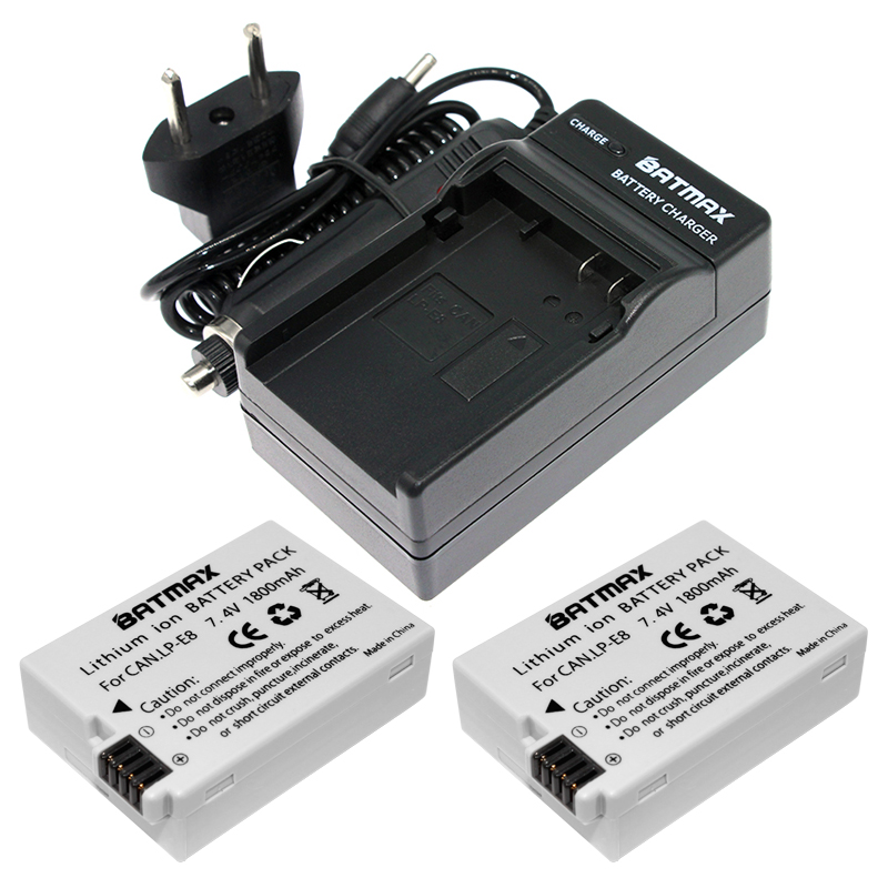 2Pcs 1800mAh Li-ion LP-E8 LP E8 Battery Pack + AC Car Charger Kits For Canon LP-E8 EOS 5D, 700D50D, 600D, 650 EOS Rebel T5i T3i