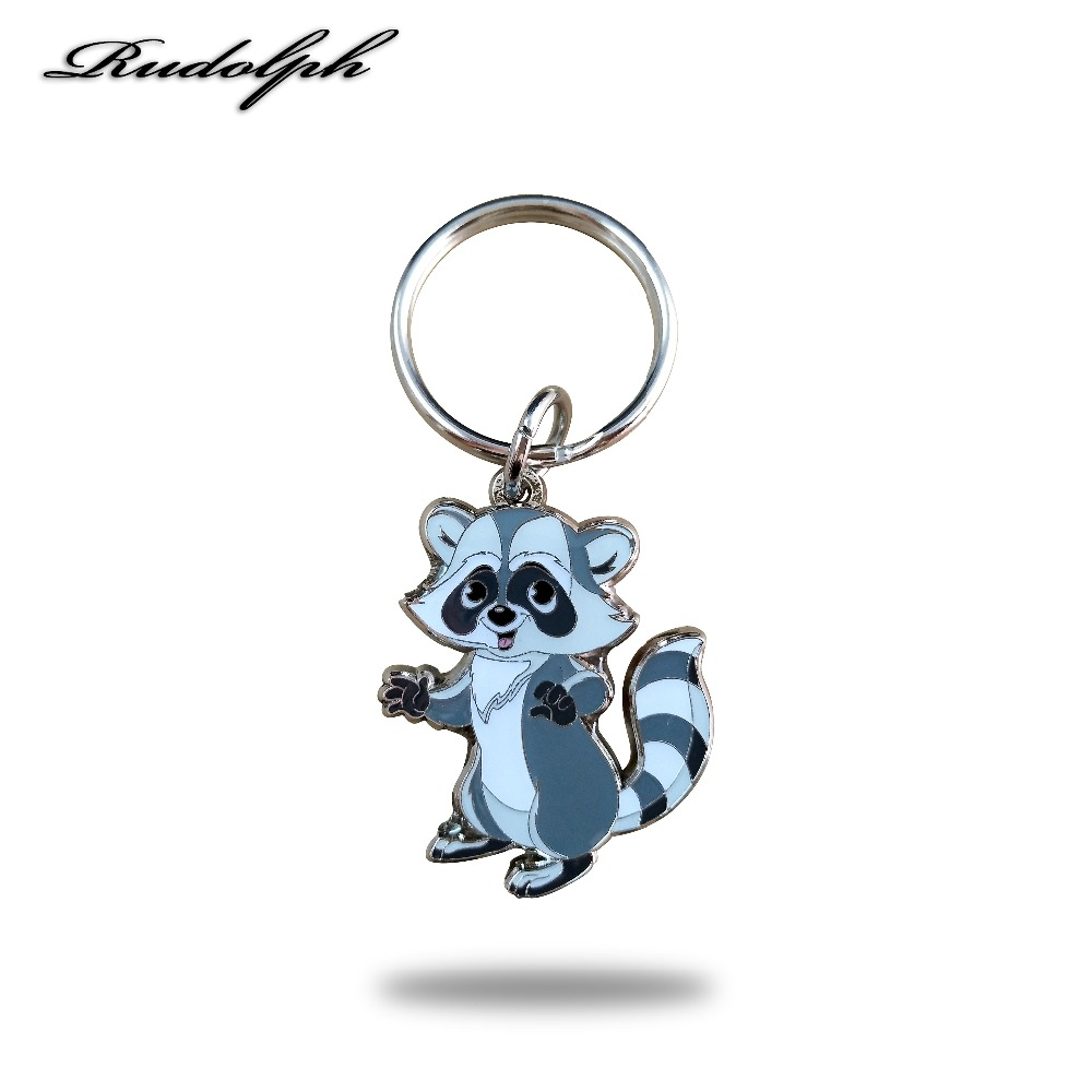 1.5 Inches Sell Like Hot Cakes Cartoon Raccoon Key Chains  Soft Enamel And Epoxy