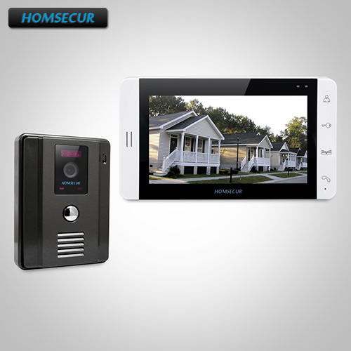 """HOMSECUR 7"""" Wired Hands-free Video Door Phone Intercom System+Outdoor Monitoring  TC011-B Camera (Black)+TM703-W Monitor (White)"""