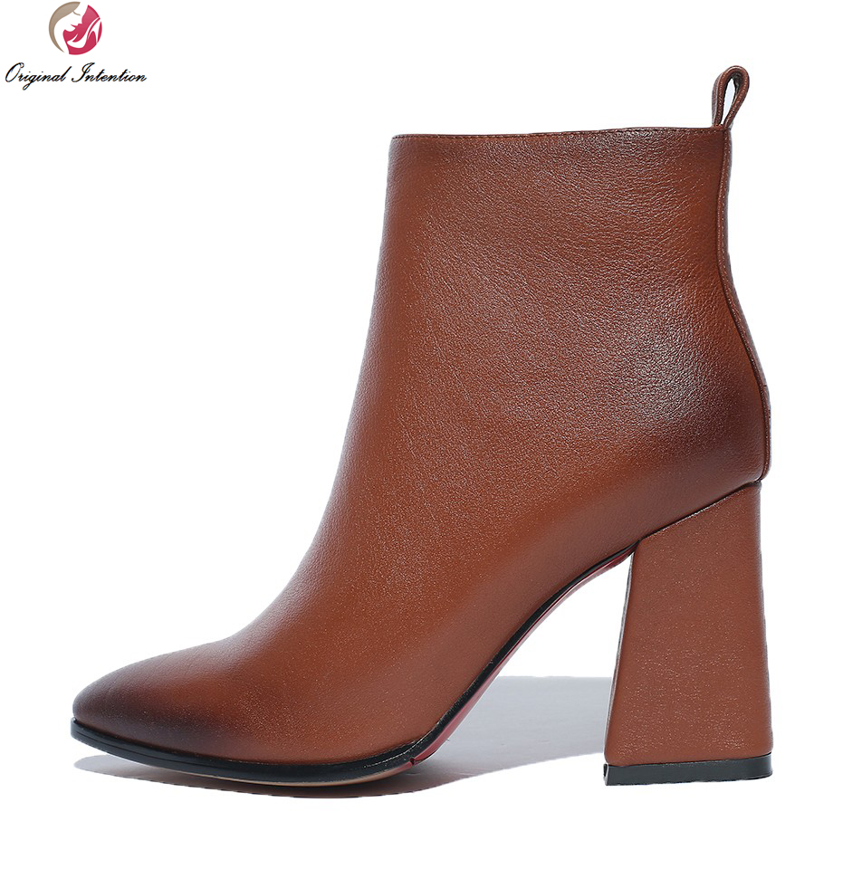 Original Intention Women Ankle Boots Sexy Pointed Toe Square Heels Boots Beautiful Black Brown Shoes Woman US Size 4-10.5 original intention high quality women ankle boots pointed toe square heels boots fashion black brown shoes woman us size 4 10 5