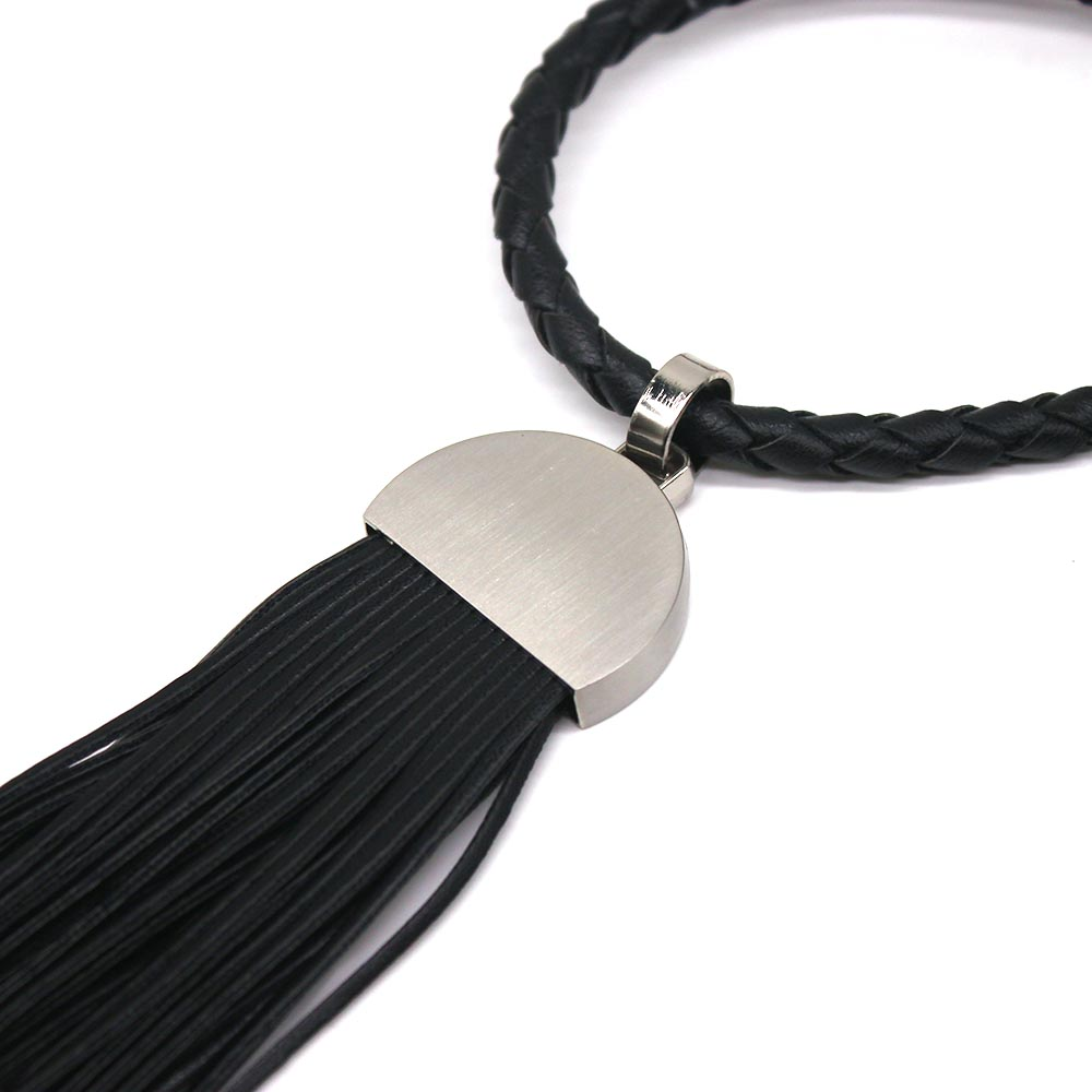 2019 New Long Leather Tassel Necklace Women Black Punk Pendant Necklace Handmade Dress Accessories Party Dance Gift