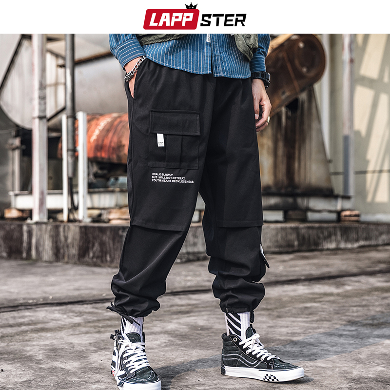 LAPPSTER Men Streetwear Carog Pants 2019 Summer Joggers Pants Men Black Hip Hop Harem Pants Korean Style Trousers Polyester