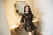Self Portrait top style 2017 winter lace sequins embroidery ladies Slim small little black dress real holiday dress dress