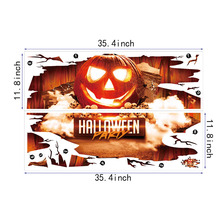 Scary Pumpkin Shaped Window Floor 3D PVC Stickers Halloween Decor