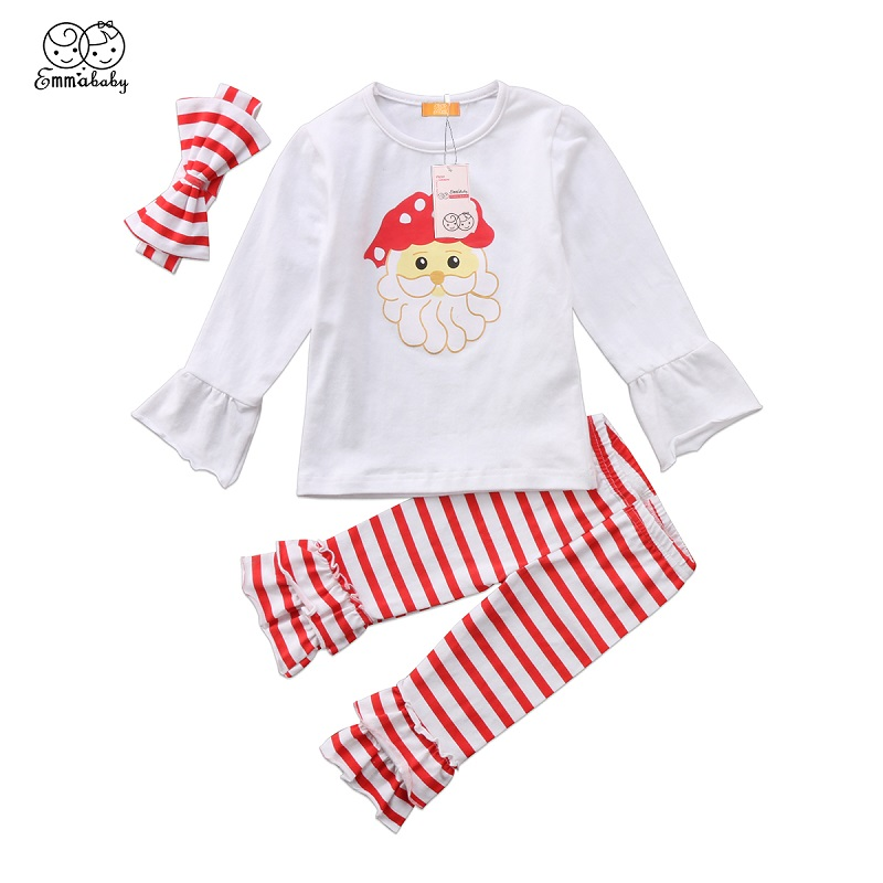Emmababy Kids Baby Girl Long Flare Sleeve Santa Tops Blouse+Striped Flare Pants Headband Christmas 3pcs Set Clothes Outfit 0-24M