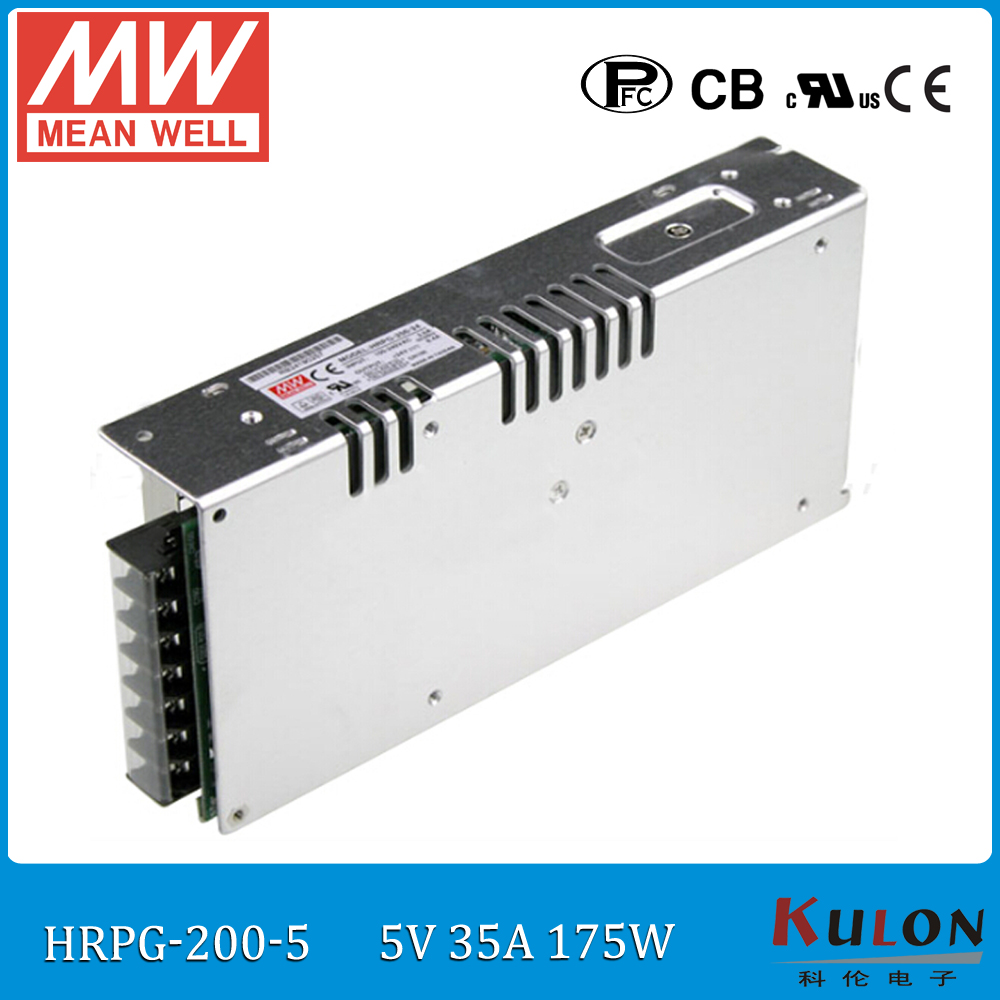 Original MEAN WELL HRPG-200-5 175W 35A 5V meanwell Power Supply ac dc 5v low power consumption power supply with PFC function смеситель juguni jgn0330 0402 643