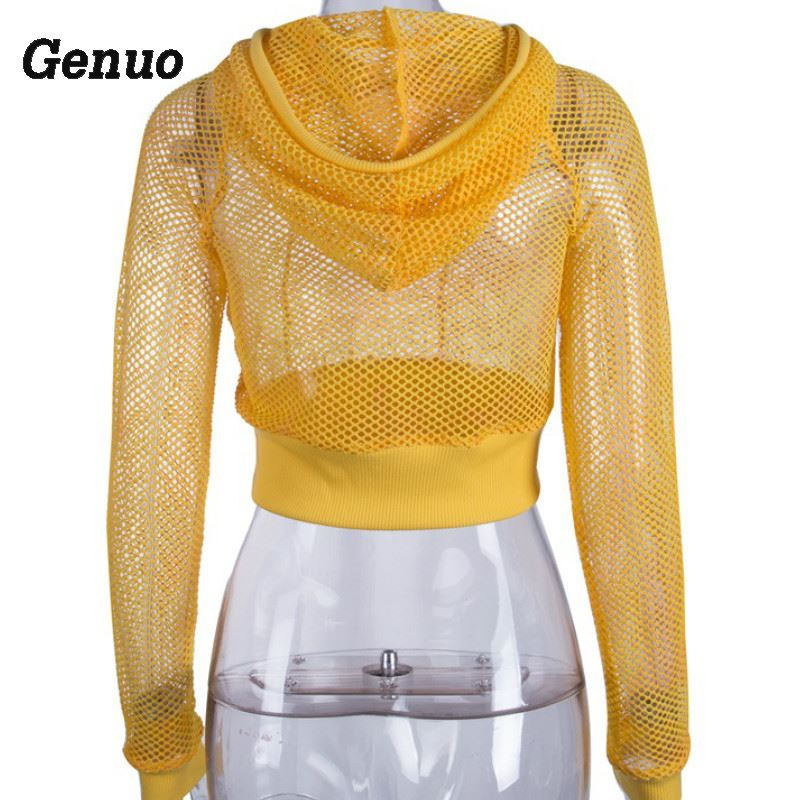 Genuo Women Crop Top Ladies All Mesh Lace Fishnet Long Sleeve Hooded Neck T Shirt Casual Vacation Yellow Autumn Crop Top in T Shirts from Women 39 s Clothing