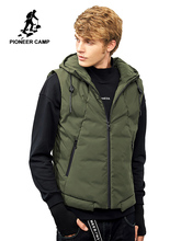 Pioneer Camp autumn winter vest men brand-clothing solid cotton warm sleeveless jacket male waistcoat army green black AMF701377