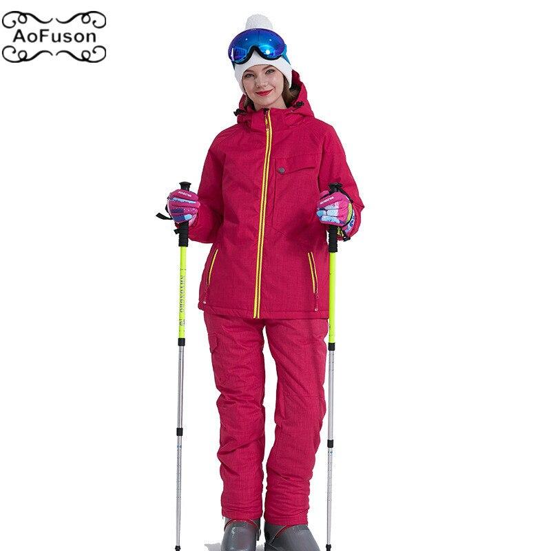 Snowboard Ski costume veste & pantalon chaud respirant imperméable hiver neige Ski femmes ensemble haute qualité pantalon manteau 2019 nouveau