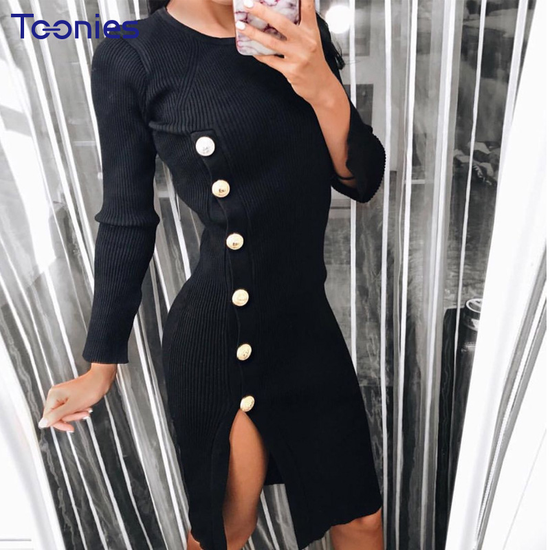 Autumn Winter New Dresses Sheath Sexy Split Buttons Dresses Fashion Style Package Hip Dress Knit Sweater Party Club Vestido Sexy