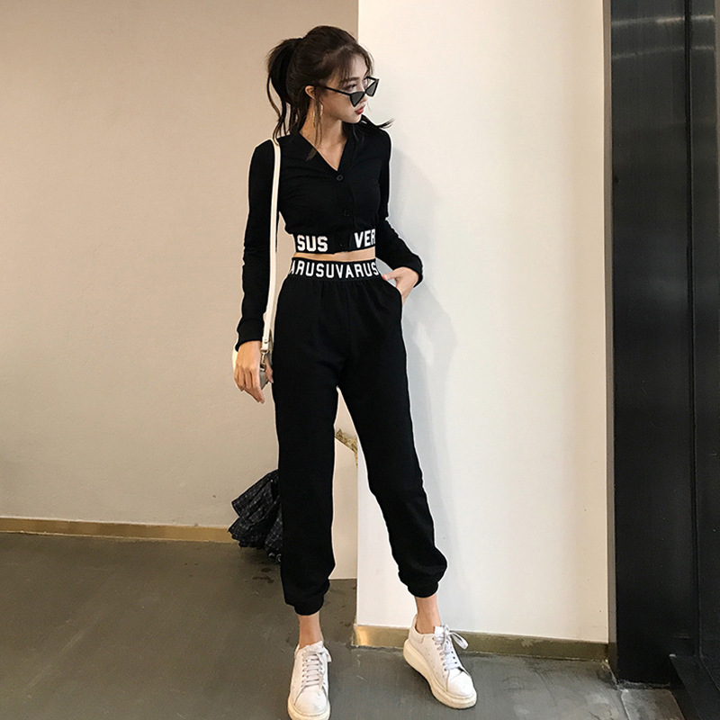 New Korean Spring Garment Sports Suit, Short V-neck Navel Top, High-waist Trousers, Two-piece Suit For Women