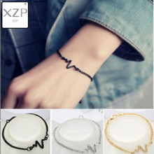 XZP 2019 Korean Fashion Hot Simple Waves ECG Heart Rate Lightning Bracelets For Women Men Jewelry Summer Style Beach Bangle(China)