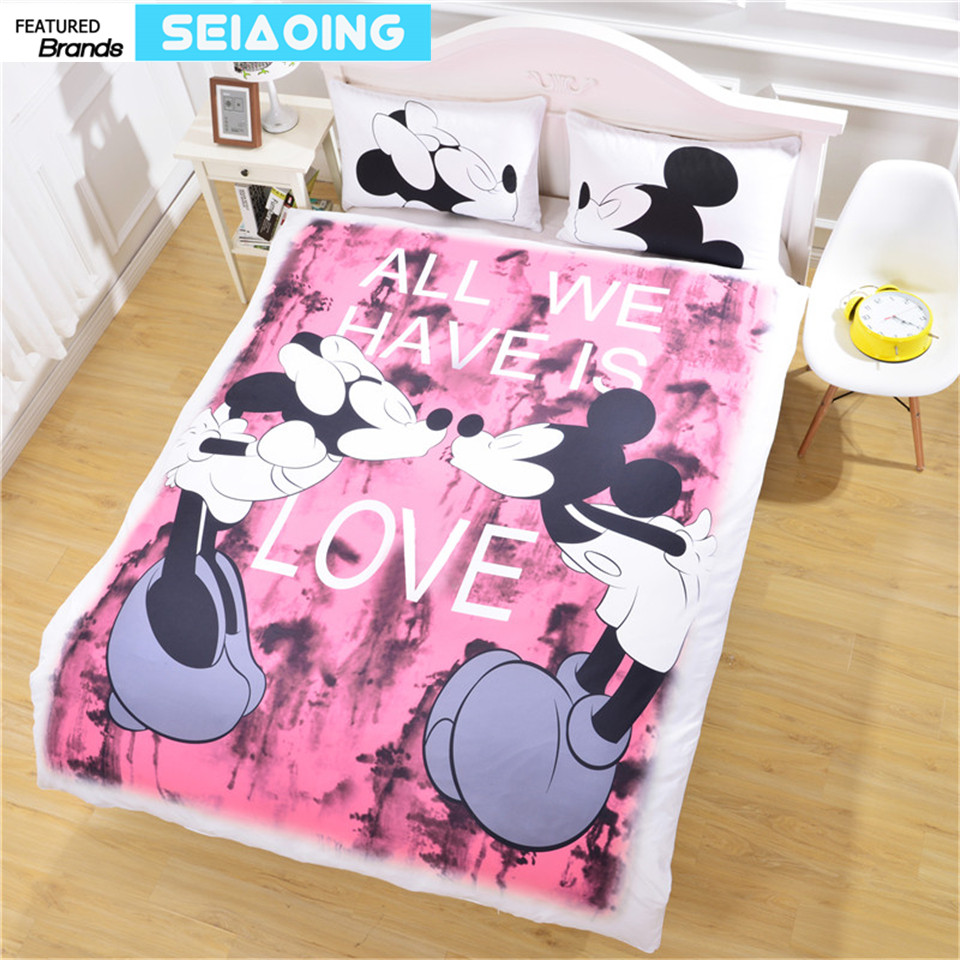 pink Mickey minnie mouse bedding sets 3pc cartoon