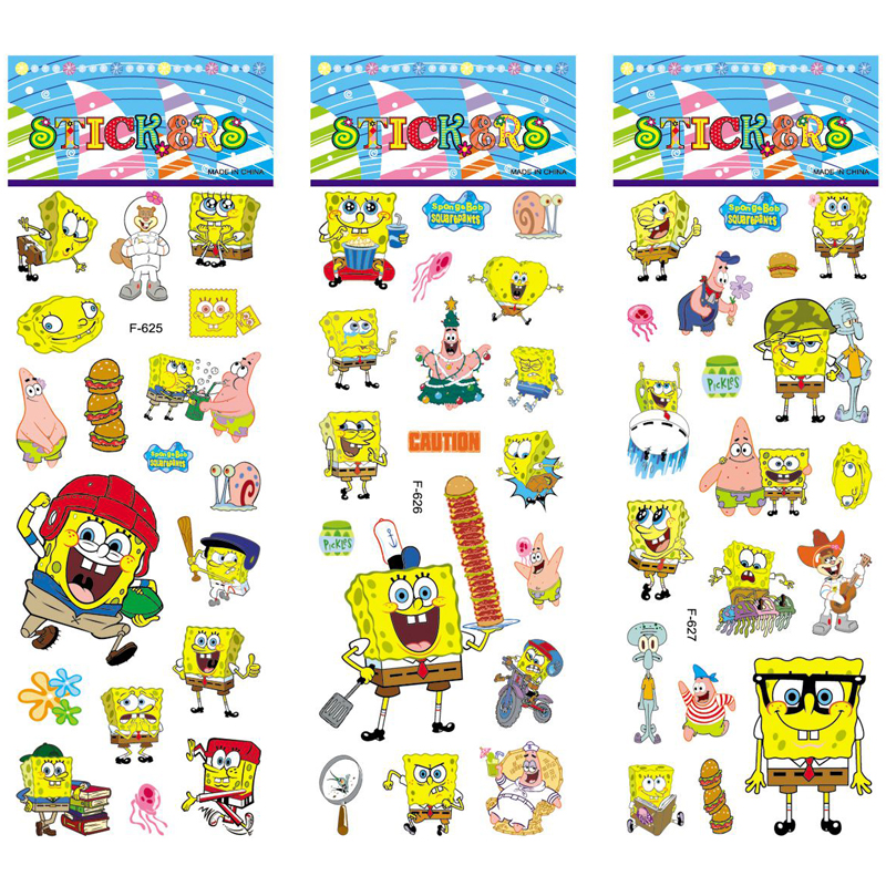 6 sheets/set SpongeBob Puffy Bubble Stickers Scrapbooking 3D Cartoon Waterproof DIY Toys Children Baby Christmas Gift 6 sheets lot 3d puffy bubble stickers mixed cartoon kawaii stickers toys dress up girl changing clothes kids toys for children