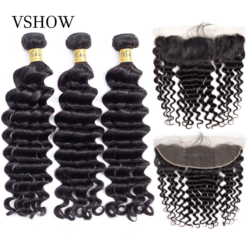 VSHOW Hair Brazilian Loose Deep Wave Remy Hair Weave Bundles With Closure Frontal Human Hair Extension