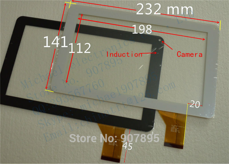 DLW-CTP-028A 1352 9inch capacitive touch screen panel Glass HS1245 V0 TJ9 HK90DR2027 for tablet pc noting size and color