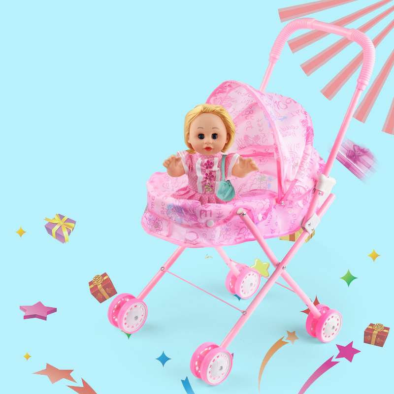 Iron Pink Trolley Toy Dolls Buggy Stroller Dolls Accessories Pushchair Pram Foldable Toy Pram Baby Doll детская коляска baby stroller accessories baby pram accessories