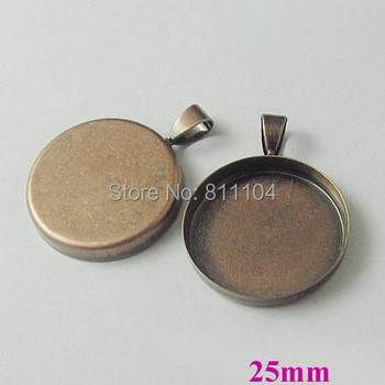 25mm Vintage Antique Copper Plated Blank Bases Round Deep Wall Bezel cups w/ a bail Cabochon Settings Pendant Blank Wholesale