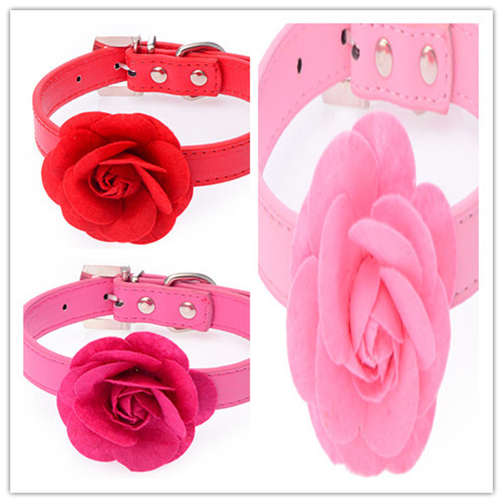 Online buy wholesale flower dog collar from china flower dog velvet leather pretty rose flower pet dog collar puppy necklace 5 candy color mini dog dhlflorist Choice Image