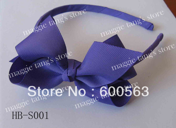 "Custom 4.5"" classic Baby handmade headband hairband grosgrain head band Boutique hairbows Purple B017"