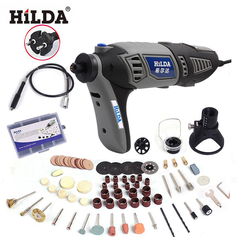цена на Hilda 180W Variable Speed  for Dremel Rotary Tool Electric Mini Drill Flexible Shaft and Accessories Grey Color Machine