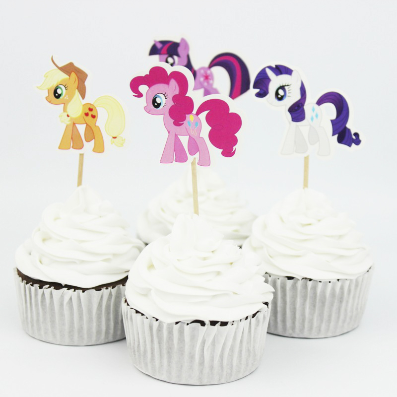 24 pcs My Little Pony Toppers Twilight Sparkle Cupcake Toppers Picks Baby Shower Kids Birthday Party Cake Decor Party Supplies ...