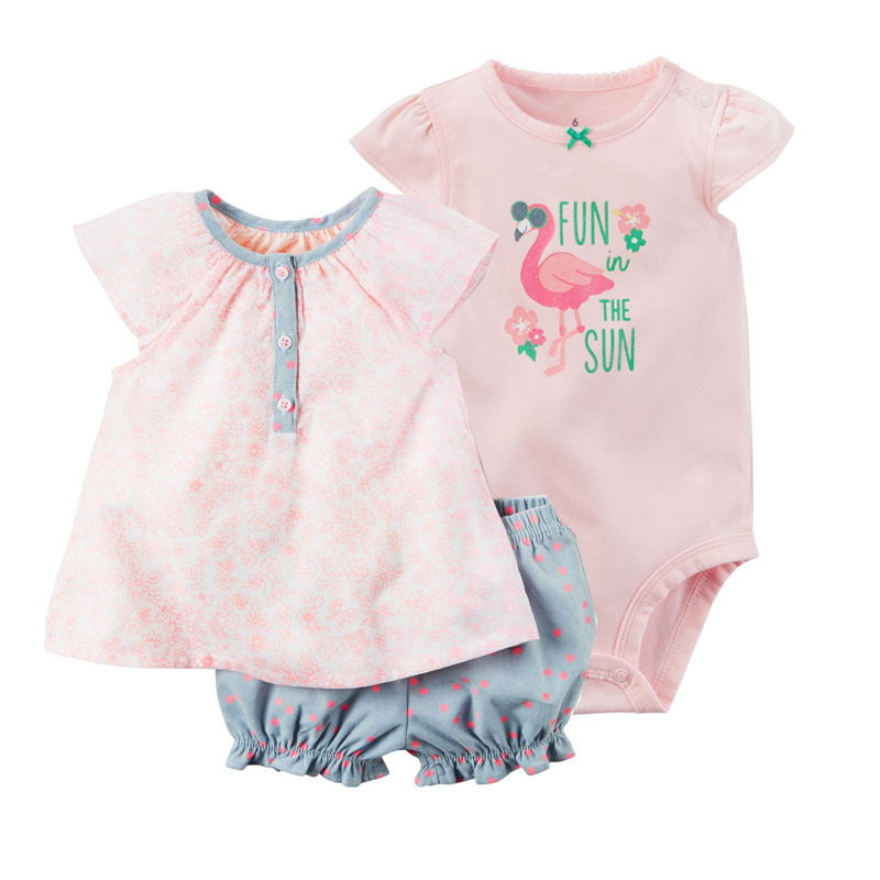 2018 kids baby bebes girl 3pcs set dress and short and romper ,pinks colors baby clothing set cute girl romper shorts