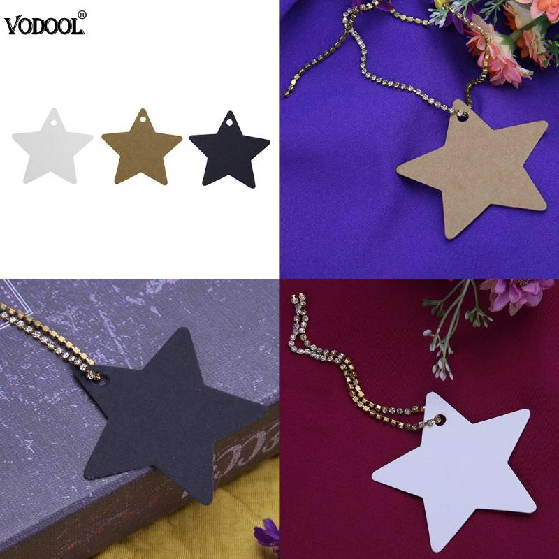 100pcs Star Kraft Paper Wedding Note String Label Card Lace Scallop Head Label Luggage DIY Christmas Tree Blank price Tag