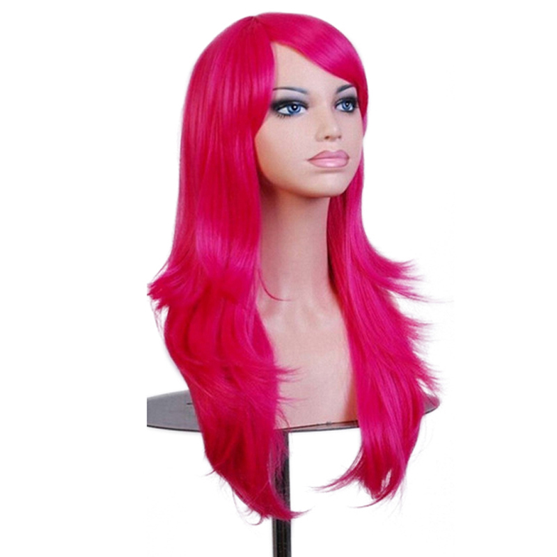 Soowee 70cm Wavy Long Cosplay Wig Synthetic Hair Red Pink Blonde Wigs for African Americ ...