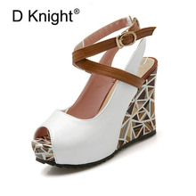 Fashion Open Toe Platform Women Wedges Sandals Sexy Cross Strap Gladiator Women Sandals Ladies Casual High Heels Beach Sandals стоимость