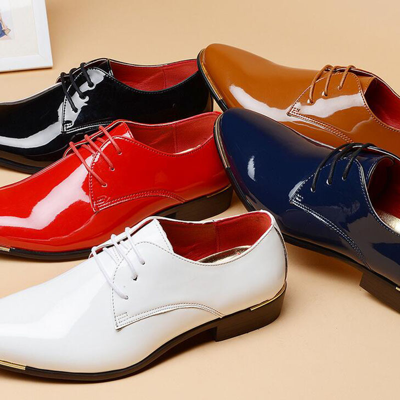 2016 Hot Koop Business Mannen Casual Lakleer Veterschoenen Puntschoen - Herenschoenen - Foto 6