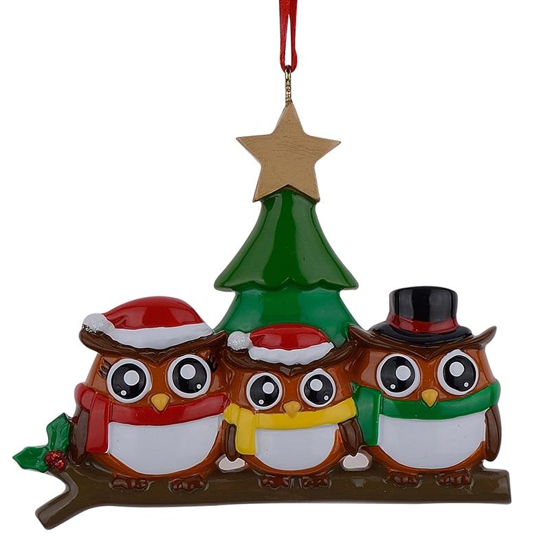올빼미 가족 3 polyresin 광택 맞춤 크리스마스 장식품 장식 공예품에 대 한 녹색 나무 황금 별 펜 던 트
