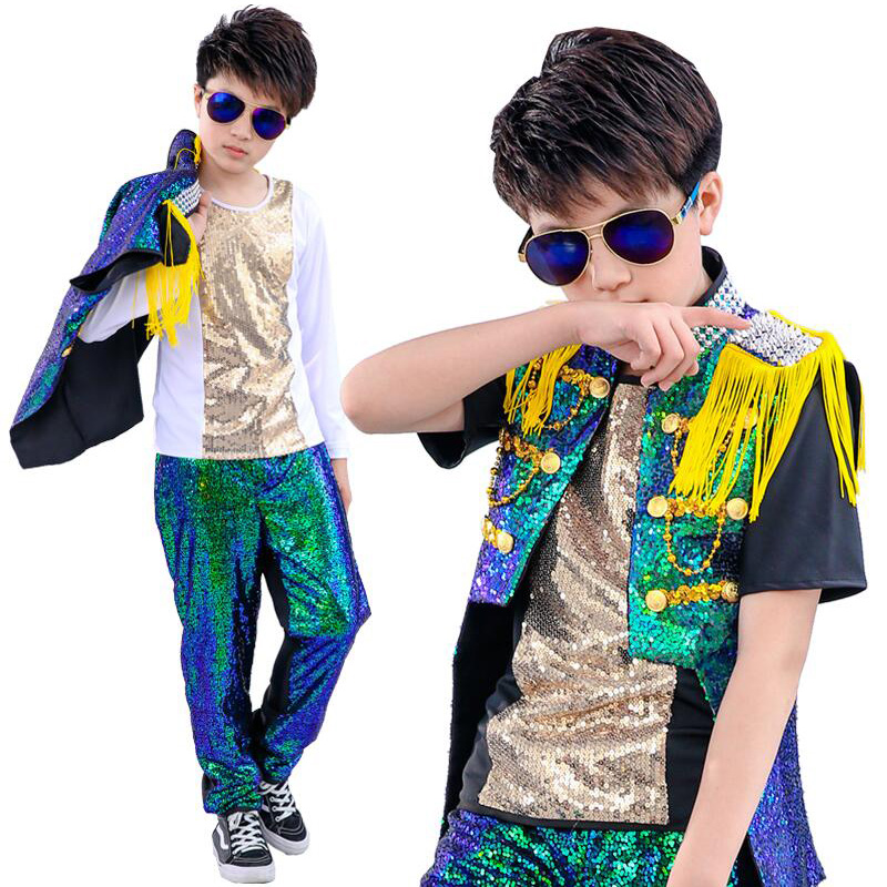 Kids Drum Sequined Hip Hop Dance Clothing Jazz Dance Costumes Boys Girls Carnival Performance Stage Wear Ballroom Dancing Outfit