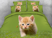 JF-199 Lovely Cute Ginger Kitten bedding set 4pcs kids Single bed Queen Super King size housse de couette(China)